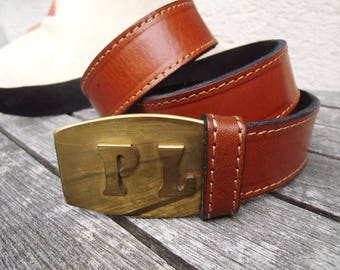 belt monogram:PL, brass handcrafted, unique