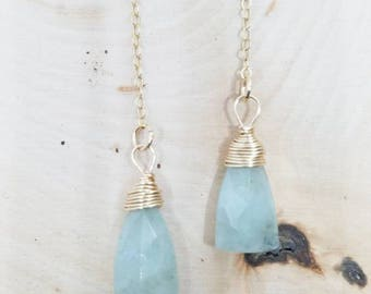 Aquamarine Triangular Briolette and Gold Wire Wrapped Drop Earrings // Gifts for Her