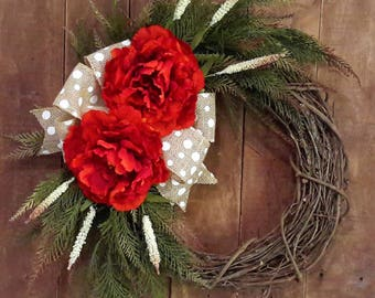Peony Wreath, Summer Wreath, Fall Wreath, Everyday Wreath, Monogram Wreath, Orange Peony Wreath, Mother's Day Gift, Home Decor