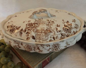 Antique Aesthetic Movement Oval Covered Serving Bowl- Edge Malkin & Co. Newport Pattern, Brown Transfer