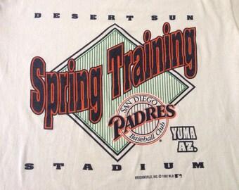 Vintage 90s San Diego PADRES Desert Stadium Sun Spring Training mlb t-shirt size Large