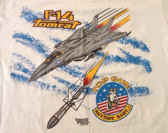 Vintage 80s F-14 Tomcat jet Top Gun Anytime Baby double side t-shirt size Large