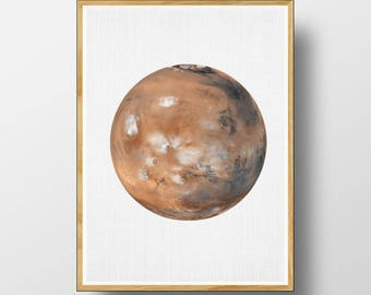 Mars Print, Mars Wall Art, Mars Poster, Mars Wall Print, Mars Photo, Mars Printable, Planet Print, Space Wall Art, MarsArt, Digital Download
