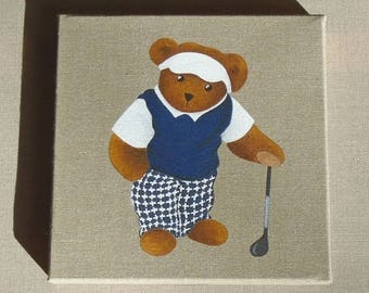 The teddy bear golfer, acrylic painting on linen