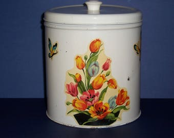 Vintage 1940's Canister, Flowers and Butterfly Canister,