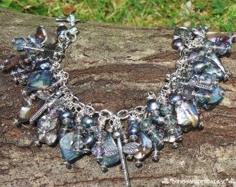 Dragonfly Charm Bracelet, Freshwater Pearl Bracelet, Shell Charm Bracelet, Dragonfly Bracelet, Bohemian Bracelet, Gypsy Charm Bracelet