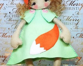 Fox felt Rag doll ragdoll  doll  Ooak cloth doll handmade by Cobesco's Creations