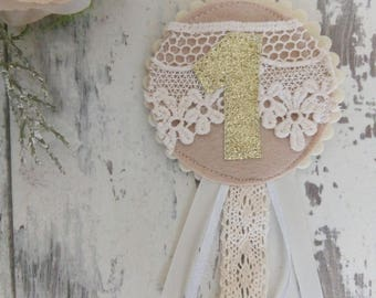 Lace detail birthday badge