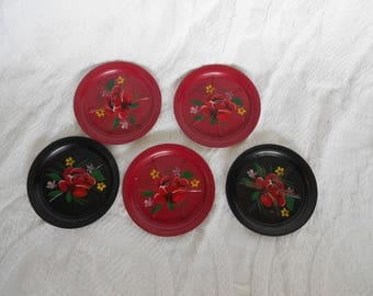 Set of 5 Cherry Red and Ebony Black Vintage Metal Coasters with Red Roses - Mid Century - Mad Men- Drink Coasters - Ready to Ship