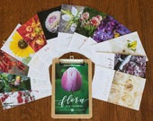Unique 2018 Floral Photography Desk Calendar featuring loose-leaf pages and choice of handmade hardwood stand OR clipboard for hanging