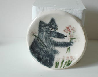 Wolf and Flowers Red Riding Hood Ceramic Trinket Dish