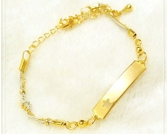 16k Gold Plated Brass , Lacquer Coated Brass Bracelet, Rectangle Bar With A Star Shaped Hole, Special, White