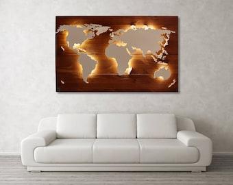 "World map Scott-""teak""-Real wood & lighting"