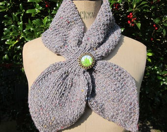 Heather grey leaf scarf