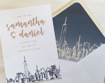 New York City Skyline Save the Date Cards - A7 Size - NYC Wedding Invitation Suite - Save the Date - PRINTED