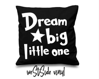 Cushion Cover, Cover, Kids Decor, Dream Big Little One, Cover Only, White On Black