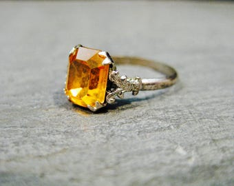 Vintage Sterling Ring with Golden Yellow Citrine  Glass Stone, Vintage Jewelry, Vintage Child's Ring