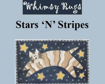Whimsy Rugs Rug Hooking Pattern - Stars 'N' Stripes - Three Sizes - Monks Cloth or Linen
