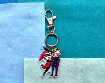 Joker and Harley Quinn Chibi Couple - Acrylic Charms Keychain