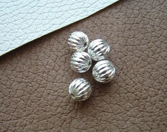 Set of 5 pumpkin 10mm silver-plated round beads