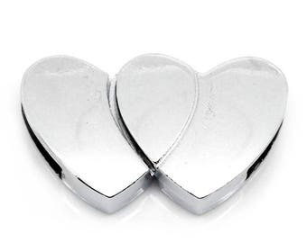 Magnetic clasp DOUBLE plated silver 28x17mm heart