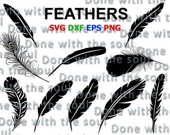 Feather svg - Feather clipart - Feather svg files - Feather cut files - Feather cutting - Digital cut files - Svg eps dxf - Vector files