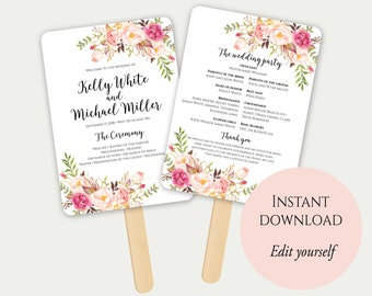 Fan Program Template, Fan Wedding Program, Ceremony Program, Printable Wedding Program, Order Of Ceremony, Editable Wedding Program, PDF, C1