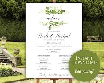Wedding Program Poster, Large Wedding Program, Wedding Poster, Ceremony Program, Wedding Program Template, Greenery, Editable Program Board