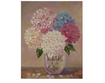 """Colorful Hydrangeas in a Vase  Original oil impasto painting  flowers on STRETCHED CANVAS  size 16"""" X 20""""  No.04-61 ready to hang"""