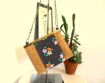 Cork shoulder bag and polka dots flowers vintage fabric