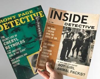 Pair of 1960's 1970's Inside Detective Magazines