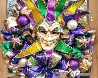 Majestical Mardi Gras wreath with jester style mask