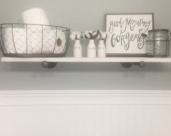 Industrial Shelves   Industrial Shelf   Pipe Shelf   White Floating Shelves    Bathroom Shelf
