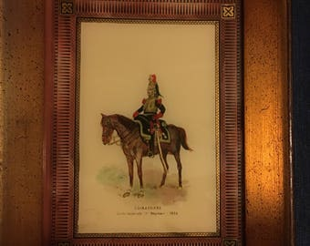Two art glass framed pictures cuirassiers and hussards