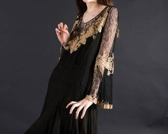 RARE 1920s Art Deco silk chiffon Appliquè lace two piece dress set