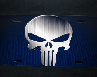 Punisher Skull License plate tag for cars and suvs Aluminum metal Nicely design