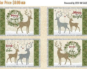 """Placemat Panel Multi Holiday Meadow Collection 25""""x45""""  by Pink Chandelier Licensed for Wilmington Prints #1893 70429 297 100% Cotton"""