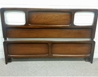 Vintage Lane Perception Full Size Headboard Walnut Mid Century Modern
