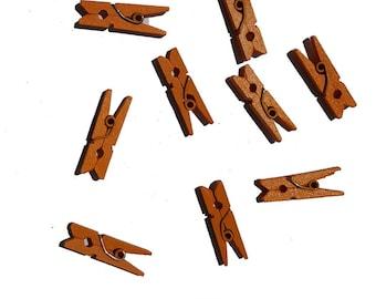 Set of 10 mini clothespins in Orange wood