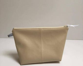 Small toiletry bag faux leather and cotton