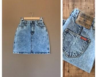 """25"""" Jordache High Waisted Denim Skirt/90s Denim Skirt/Jean Skirt/90s clothing/ High Waisted Skirt/90s Skirt/90s Hip Hop Clothing/Jordache"""