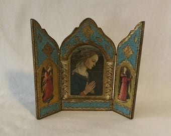 Vintage Florentine Mother Mary and Angels Fold Out Triptych