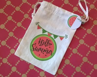 "Small bag watermelon fabric ""hello summer"" tag"