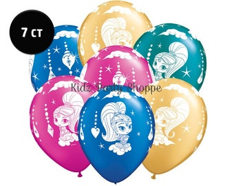 """Shimmer and Shine Balloons 11"""" Pearl Latex [7ct] Genie Birthday Party Decorations Photo Prop Centerpiece Supplies Supply"""