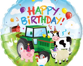 "Farm Animals Balloon 18"" Foil Mylar Tractor Barnyard Cow Pig Birthday Party Decorations Supplies Photo Prop"