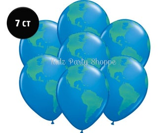 "Planet Earth Balloons [7ct] 11"" Latex Globe World Outer Space Birthday Party Decorations Supplies Photo Prop"