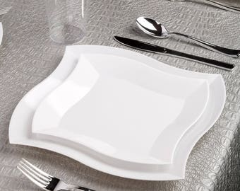 Kaya Collection - Deluxe Wave White Disposable Plastic Party Package - Includes Dinner Plates, Salad Plates, Silver Cutlery, Tumblers