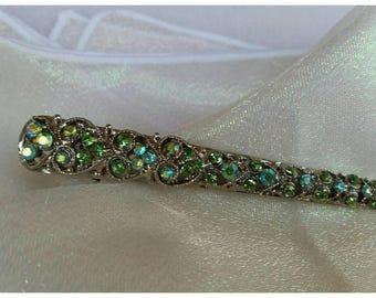 Green Crystal Hair Clip Silver Scrolled Design * FREE SHIPPING