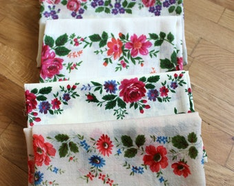 SET of 6 Vintage Russian Shawls for CRAFT, Shawls with defects, Russian Floral Scarf,  Babushka shawl, Vintage Scarves, Floral fabric