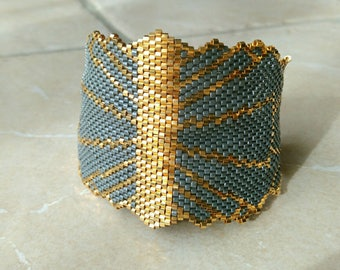 Miyuki Delica gold filled beads and grey shoulder cuff